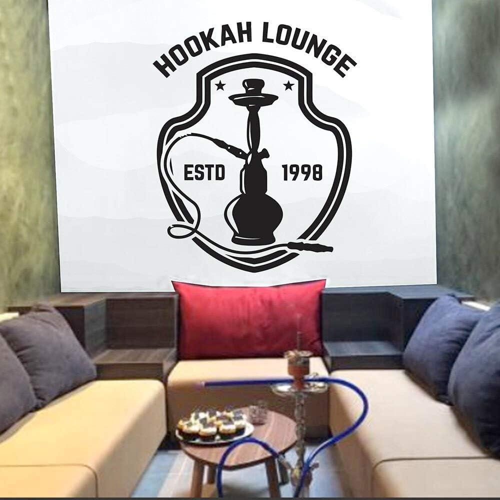 SUPWALS Pegatinas de pared Hookah Lounge Wall Decal Quotes Estd Art Vinilos Decorativos Hookah Shop Decoraciones Shisha Club Relax Patrón Árabe Extraíble 42X44Cm