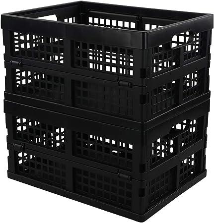 Neadas Caja Cajas Cesta Cesto Plastico Plegable de Almacenamiento, Color Negro, 2 Unidades: Amazon.es: Hogar