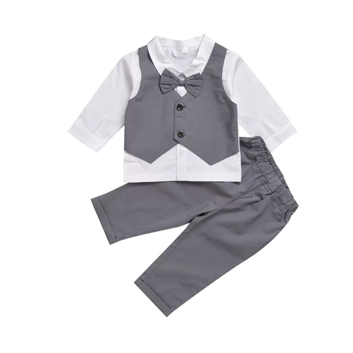 Gubabycci Infant and Toddler Baby Boy Gentleman 2pcs Long Sleeves Formal Party Wedding Suits Outfits