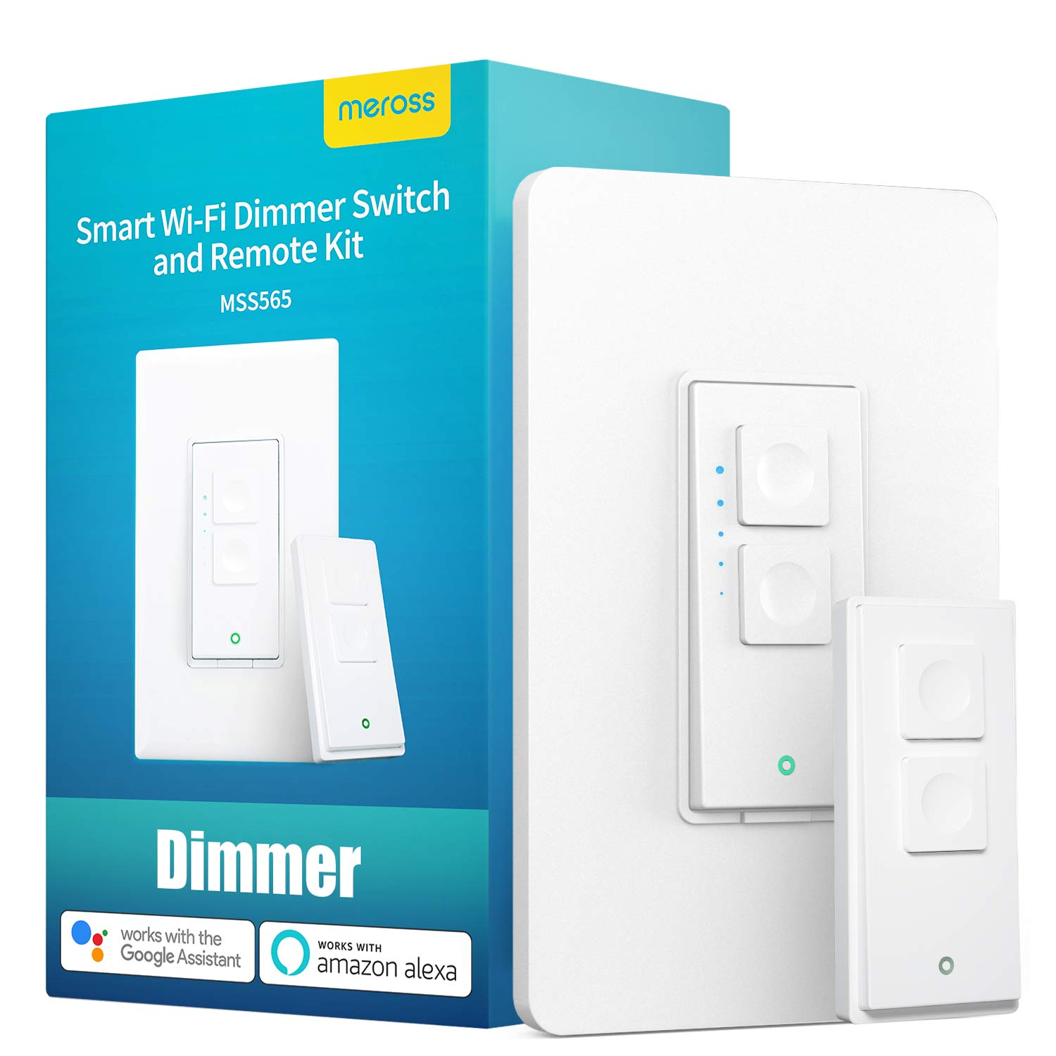 Smart Dimmer Switch and Remote Kit - meross WiFi Wall Light Switches Compatible with Alexa, Google Home and SmartThings, No Hub Required, Single Pole, Neutral Wire Required, for Dimmable LED Bulb