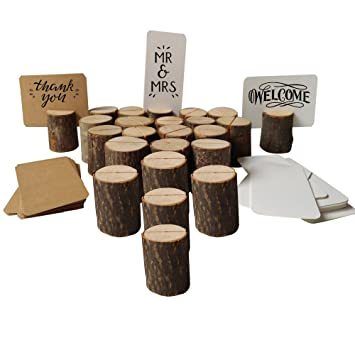 MZTD 20pcs Stand En Bois Porte Cartes Support Photo Carte Nom Place Numero