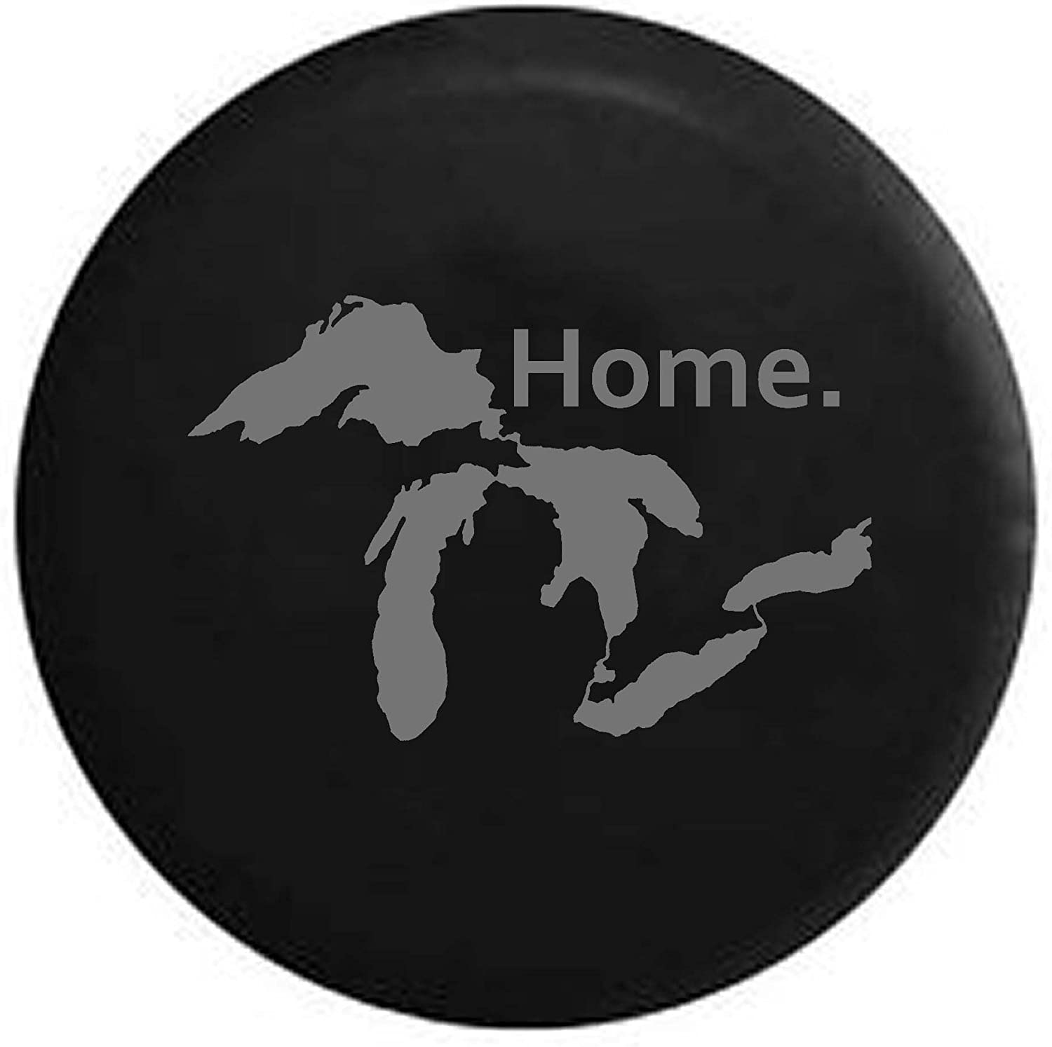 Pike State of Michigan Great Lakes Detroit Home Edition Trailer RV Spare Tire Cover OEM Vinyl Black 29 in