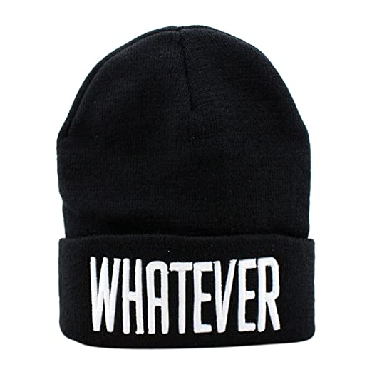 835effc8ad5 Amazon.com  Maonet Clearance Winter Black Whatever Beanie Hat Snapback Men  Women Cap (Black)  Clothing
