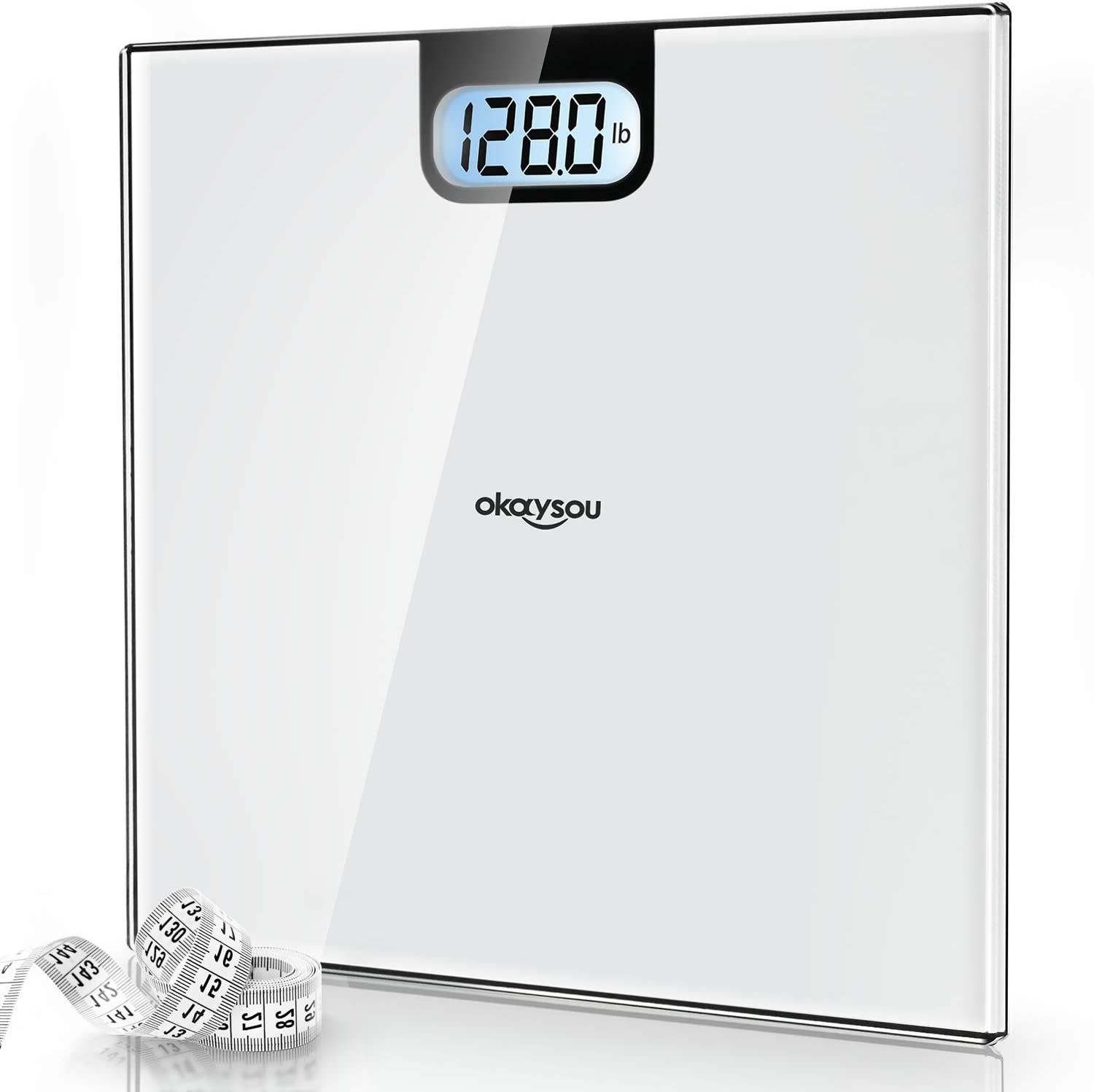 Okaysou Accurate Digital Bathroom Body Weight Scale, All-New Weight Scale with 3.6 Large Backlit LCD Display, 6mm Tempered Glass, Body Tape Measure, Step-on Technology, 400lbs