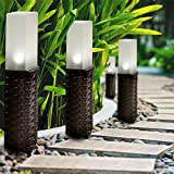 cyclamen9 Rattan Solar Post Ground Garden, Solar Pathway Lights Outdoor Solar Landscape Lights for Lawn, Patio, Yard, Walkway - White LED,Set of 2(Black)