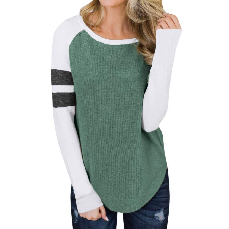 MERICAL Loose Blouse Women Knit Long Sleeve Patchwork Stripe Casual Autumn Sweatshirt T Shirt Long Sweater