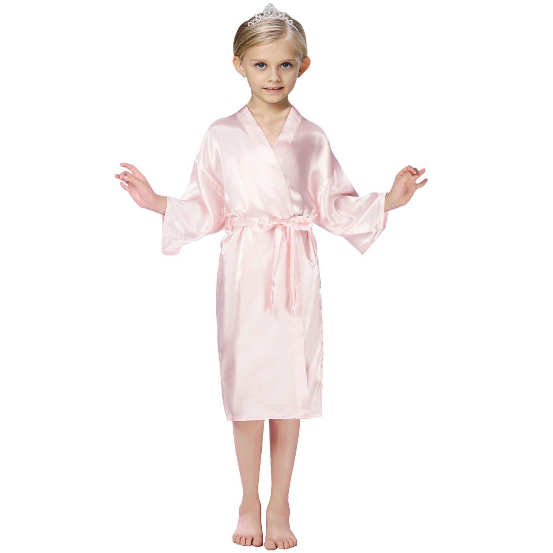 FCTREE Kids' Satin Kimono Robe Nightgown For Spa Party Wedding Birthday (3T, Pink)