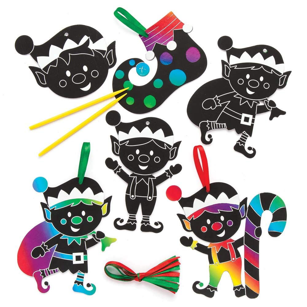 Baker Ross Christmas Elf Scratch Art Decorations (Pack of 10) for Kids Christmas Crafts and Decorations