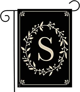 "Briarwood Lane Classic Monogram Letter S Garden Flag Everyday 12.5"" x 18"""