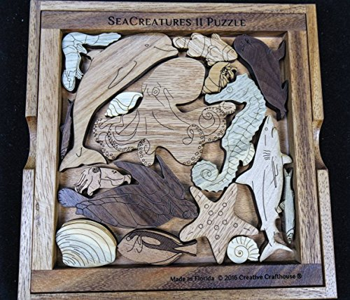 Sea Creatures II Puzzle wood brain teaser – a beautiful challenge by Creative Crafthouse