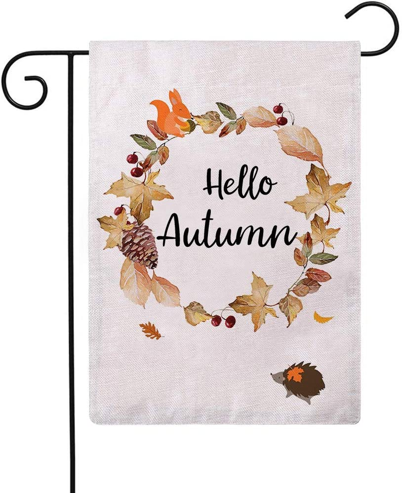 Hello Autumn Maple leaves Garden Flag Country Rustic Farmhouse Happy Fall Decorative Small Burlap Garden Flags with Animal Squirrel Hedgehog 12.5 x 18 Inch House Yard Patio Outdoor Decorations