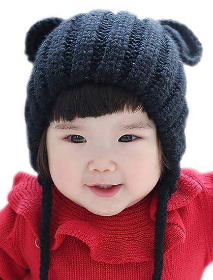 0d651ec3bac GZMM Toddler Infant Baby Woolen Winter Earflap Beanie Hat Unisex Cap Cartoon  Design (Black)