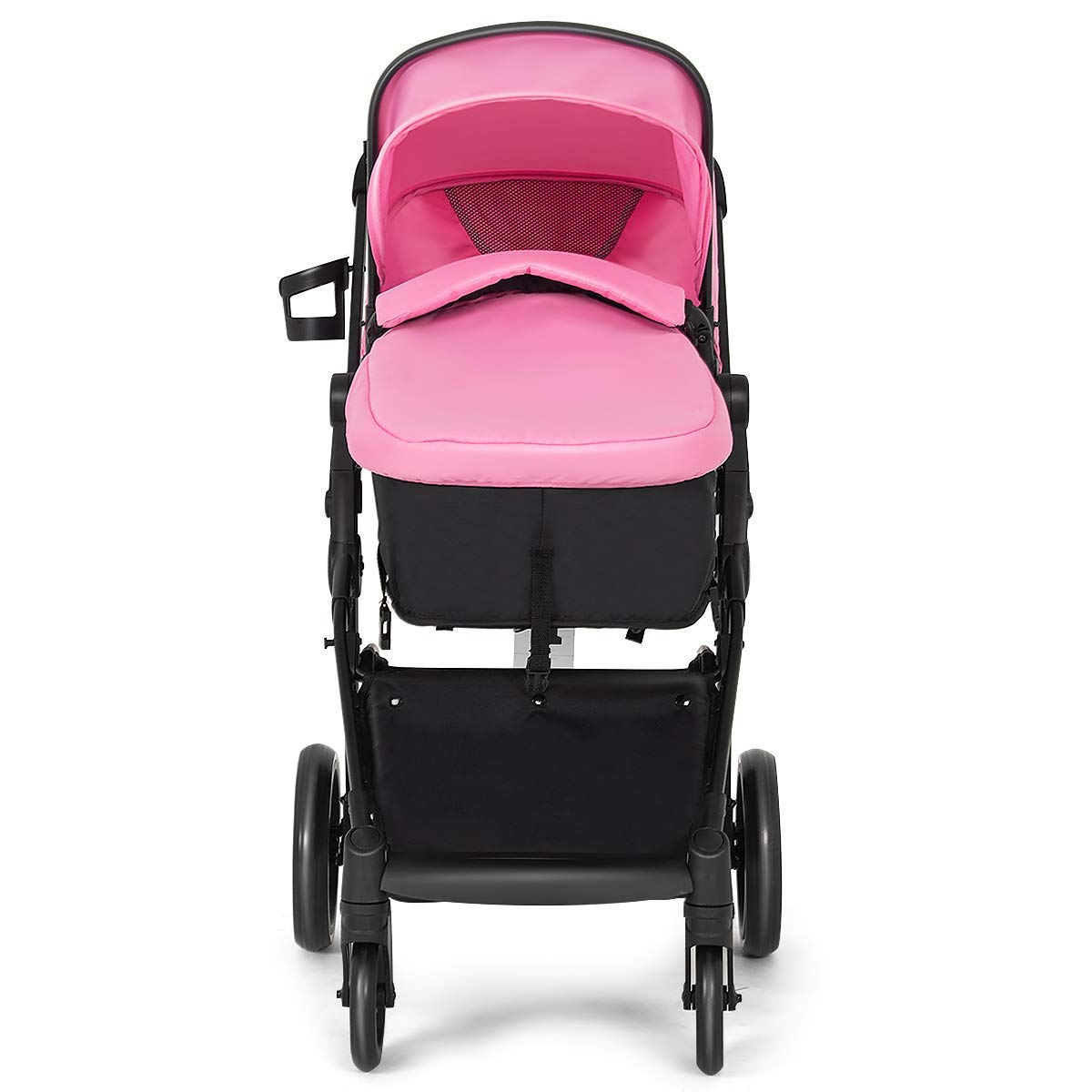 Costzon Baby Stroller, 2 in 1 Convertible Carriage Bassinet to Stroller, Pushchair with Foot Cover, Cup Holder, Large Storage Space, Wheels Suspension, 5-Point Harness (Pink Color) by Costzon (Image #8)