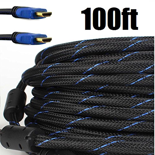 - Premium Braided Nylon HDMI Cable Gold Series High Speed HDMI Cable with Ferrite Core for PS4, X-Box, HD-DVR, Digital/Satellite Cable HDTV 1080P Blue (100 Feet)