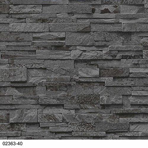 Vlies Tapete P+S EINFACH SCHÖNER 02363-40 Steine Mauer 3D Optik Grau Anthrazit