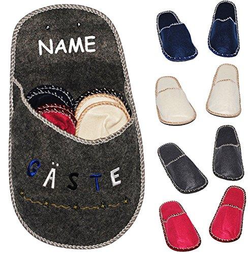 """XL Set: Gästepantoffeln / Hausschuhe - """" Gäste """"- incl. Name & XL Schuh zur Aufbewahrung - für Erwachsene & Kinder - bunte / einfarbige Pantoffeln - Filz Schuhe Schuh / Hausschuh - Superweich - Slippe"""