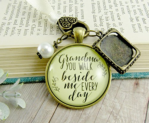 (Grandmother Bridal Bouquet Photo Charm Grandma You Walk Beside Me Every Day Wedding Pendant Memorial Remembrance Photo Jewelry)