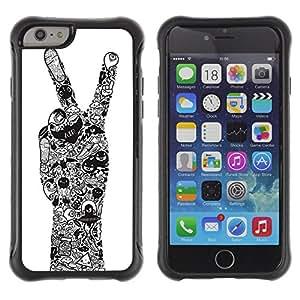 ZAKO Cases / Apple Iphone 6 PLUS 5.5 / Peace Hand / Robusto Prueba de choques Caso Billetera cubierta Shell Armor Funda Case Cover Slim Armor