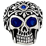 Regal Rogue Simulated Sapphire Blue Cubic Zirconia Eyes Skull Sterling Silver