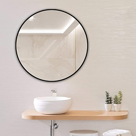 Amazon Com Huimei2y Circle Mirror 15 7 Inch Wall Round Mirror With Metal Frame For Vanity Bathroom Bedroom Entryway Living Room Black 40x40cm Home Kitchen