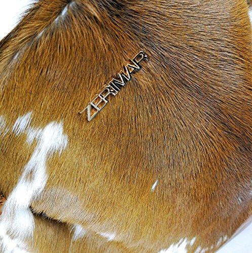 Zerimar Bolso de piel de vaca Bolso de Mujer Bolso de Hombro con gran capacidad Marron claro