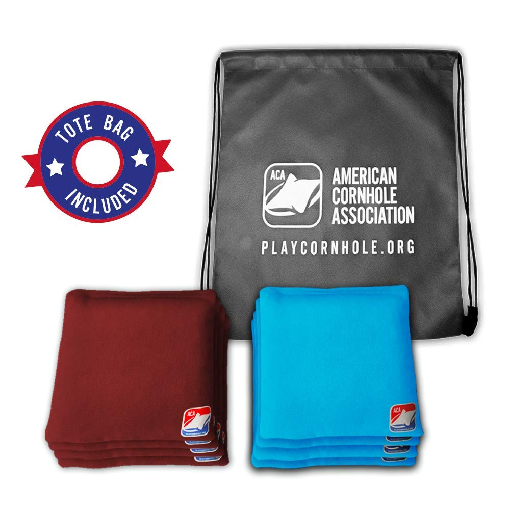 Official Cornhole Bags from The American Cornhole Association - 6'' Double-Stitched Corn-Filled Bean Bags for Corn Hole Outdoor Game - Regulation Size - Burgundy & Turqoise
