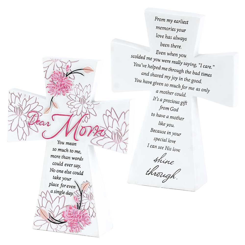 Pink Flower Blooms Mom His Love 7 x 5 White Resin Stone Table Top Cross