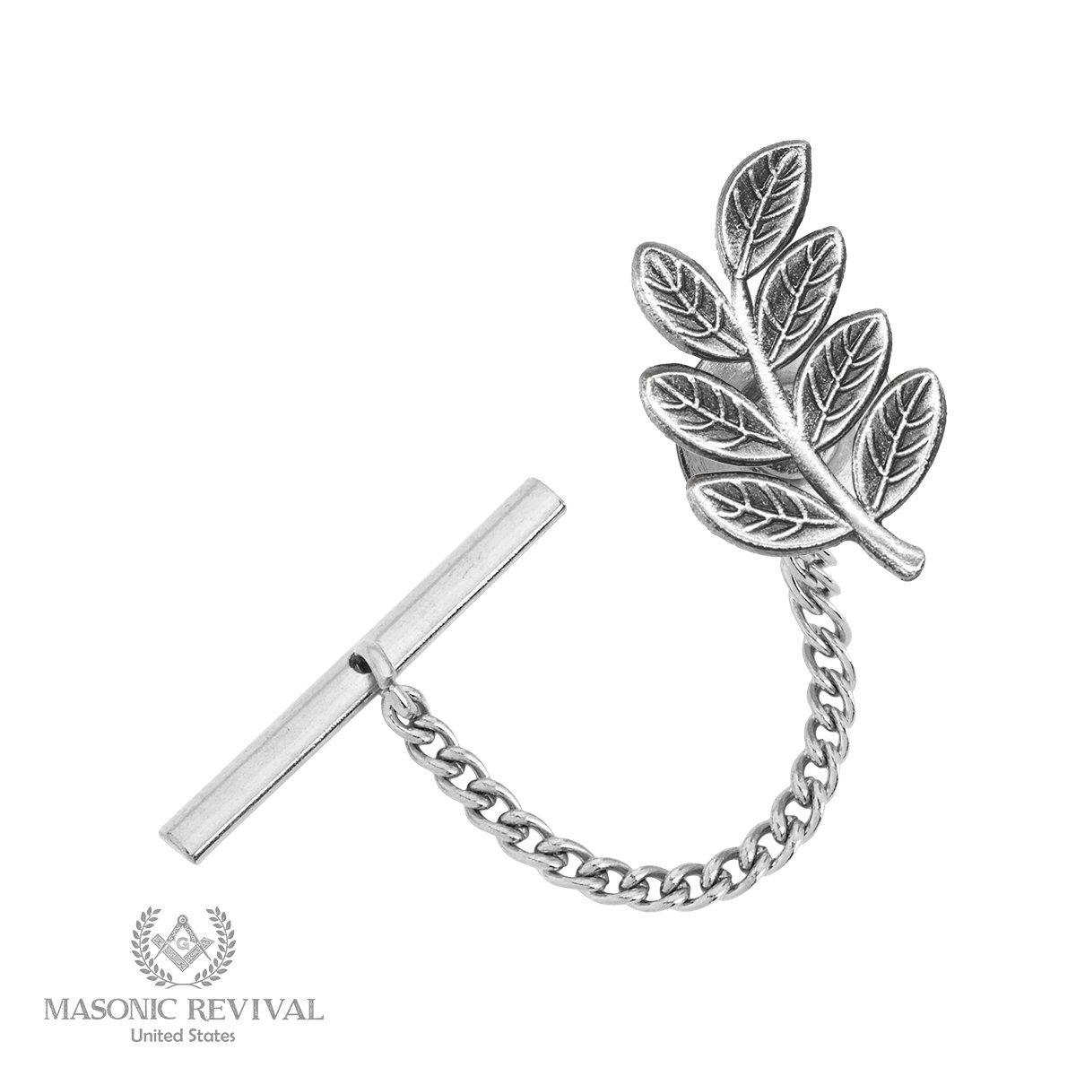Sprig of Acacia Tie Pin Tack by Masonic Revival (Antique Silver)