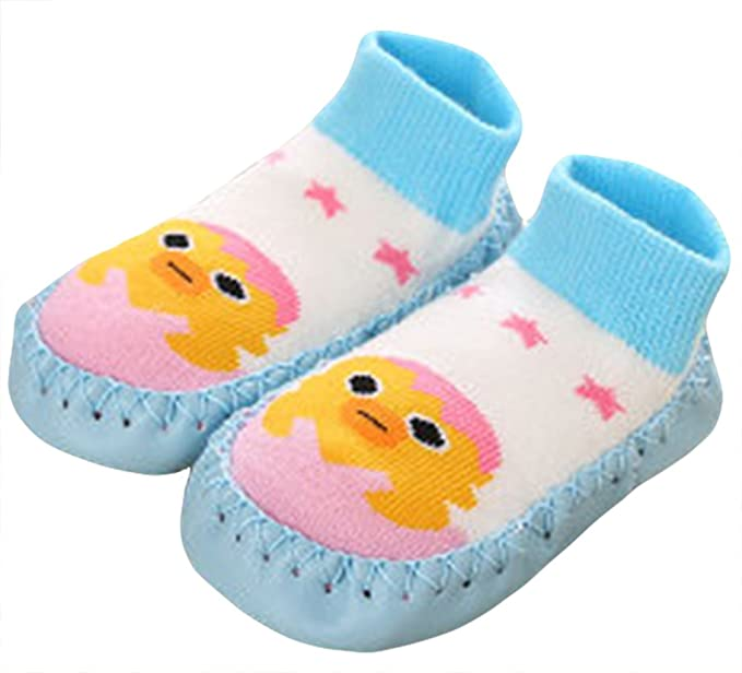 6dd45b6aeac2 Cute Baby Boys Girls Toddlers Moccasins Non-Skid Indoor Shoes Socks Slippers  Sky Blue Duck