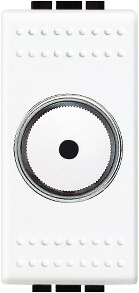 Bianco BTicino N4402N Dimmer a Manopola Resistivo 500 W con Deviatore