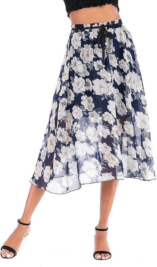 PARVAL Mujeres Falda Floral Vintage de una línea para Mujer Falda ...