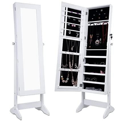 LANGRIA Lockable Jewelry Cabinet Standing Jewelry Armoire Organizer With  Mirror, Full Length Standing Jewelry Storage