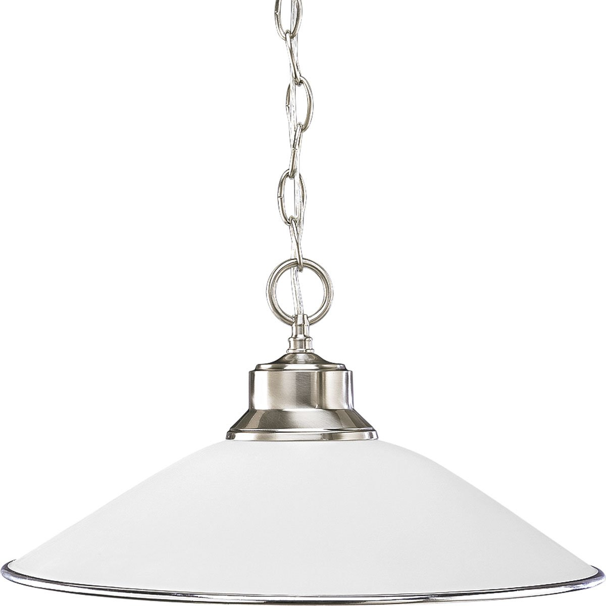 Progress Lighting P5013-09 1-Light Chain-Hung Pendant with Satin Opal Glass and Accent Ring, Brushed Nickel