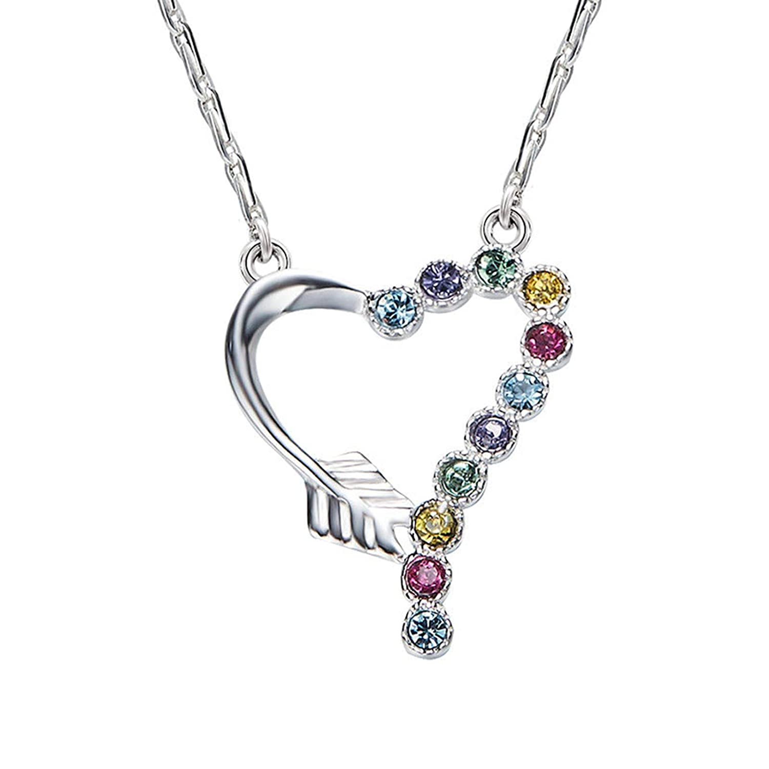 Aooaz Silver Material Necklace Womens Girls Hollow Heart Pendant Necklaces Silver Anniversary 40+5CM