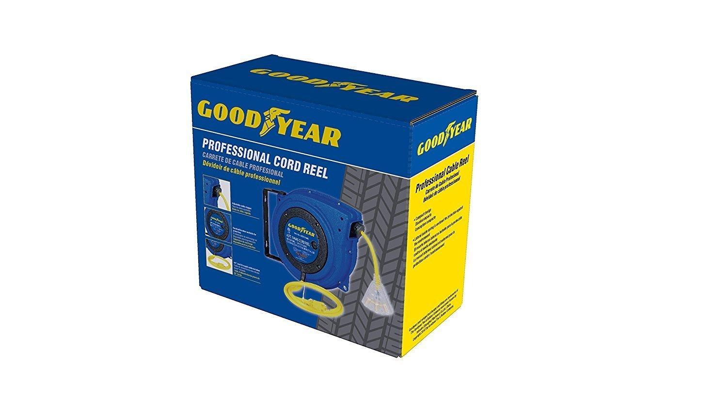 Goodyear Extension Cord Reel Heavy Duty, 40 ft., 12AWG/3C SJTOW, Triple Tap with LED Lighted Connector by Goodyear (Image #8)