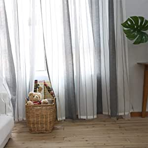 Pantalla de ventana de cortina a rayas blancas grises simples, partición de hilo de textura de algodón y lino Cortina de estilo nórdico adecuada para sala de estar dormitorio estudio 100 250