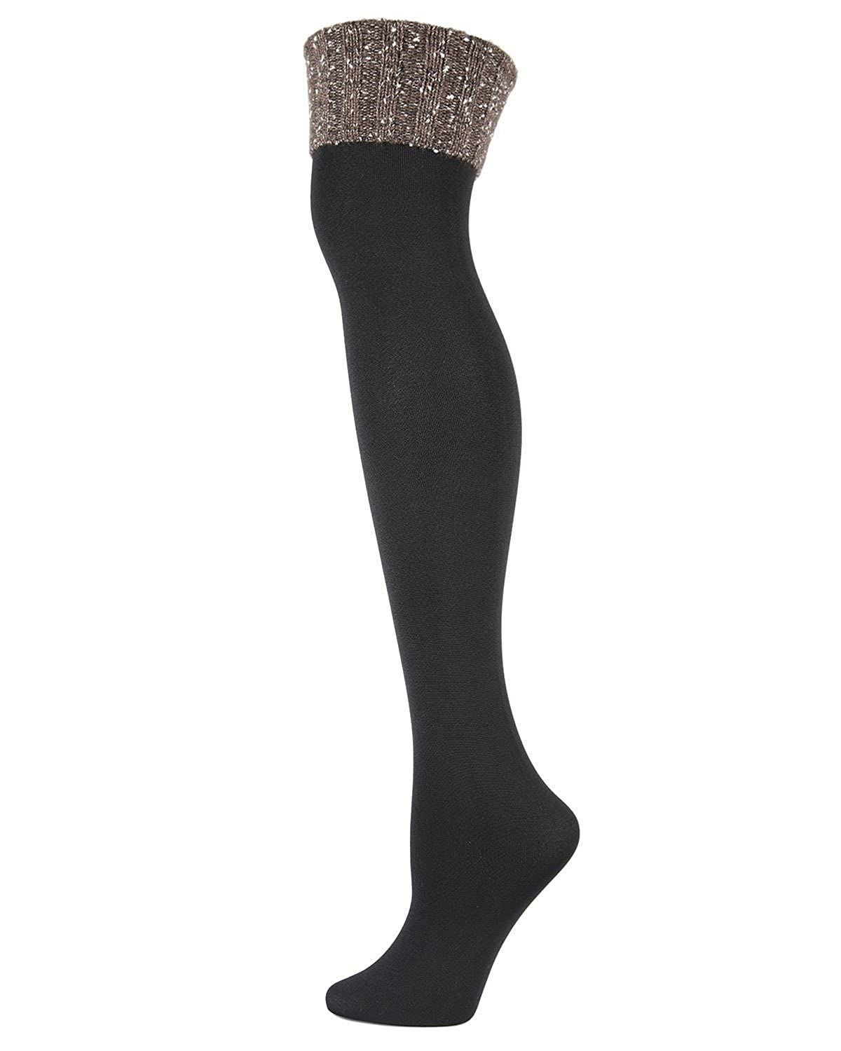 7bcd38f07 MeMoi London Fleece-Lined Over-the-Knee Sock - Ladies Winter Socks  Black Black MF7 5221 One Size 9-11 at Amazon Women s Clothing store