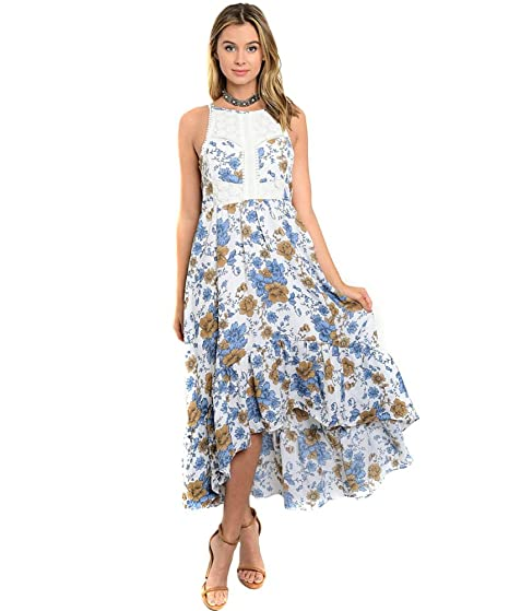 eb201ba266b Fourever Funky Blue Floral   Crochet Open Back Hi-Lo Maxi Dress at ...