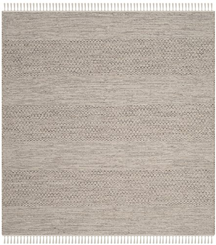 Safavieh Montauk Collection MTK330M Handmade Flatweave Ivory and Steel Grey Cotton Square Area Rug (6' Square)