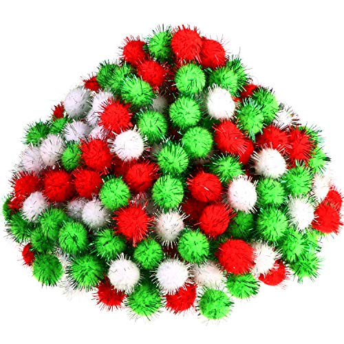 500 Pieces Glitter Pompoms 1 Inch Fuzzy Pom Poms Arts and Crafts Making Balls for Hobby Supplies and Craft DIY Decoration (White, Fruit Green, Red)