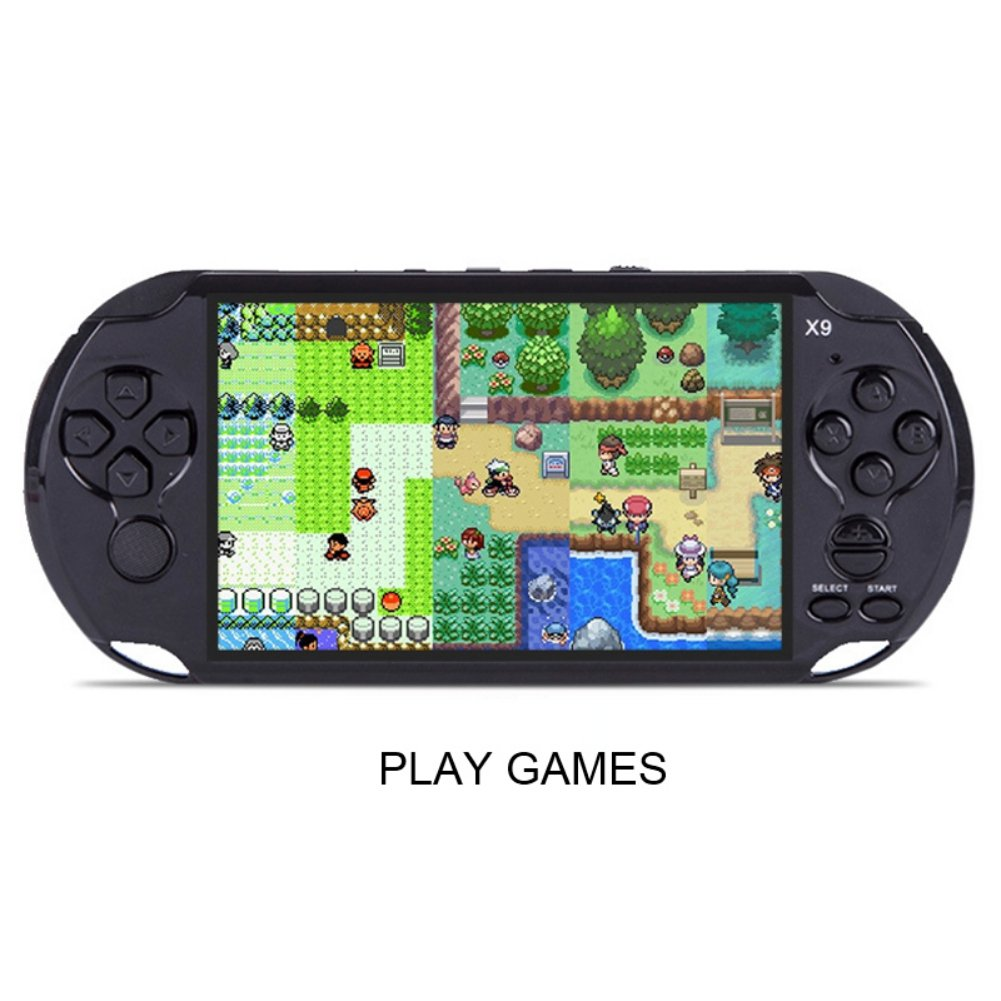 Handheld Retro Game Console,Leezo 1PC X9 Rechargeable 5inch 8G Built-in Game Classic Portable Retro Game Player Support TV Output With MP3 Movie Camera Birthday Gift for Kid - Black