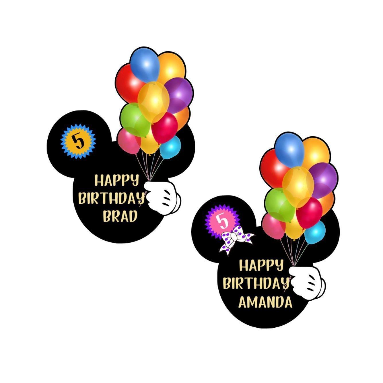 Happy Birthday Mickey Head || Disney Cruise Birthday Magnet For Stateroom Door || Disney Balloons Door Magnet || Disney Cruise Magnets