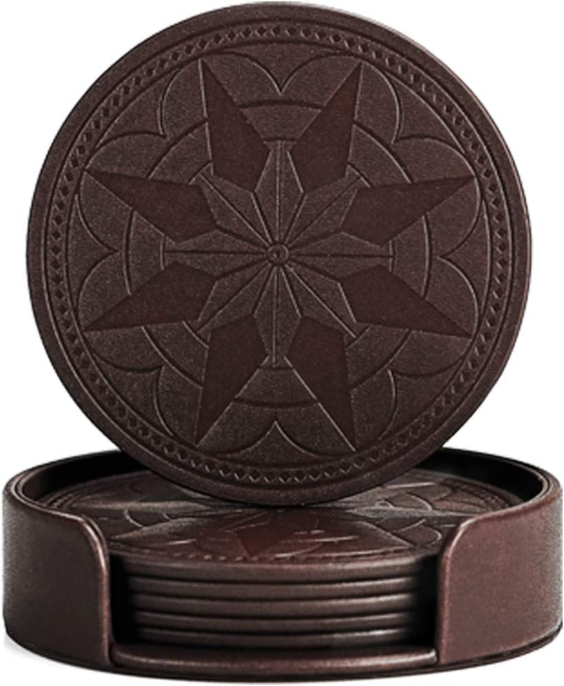 BEST FAUX LEATHER Coasters For Drinks, Twin Bundle - Set of 6 In Dark Coffee Plus 2 Free Bonus Black Mats In Holder,Protect Wood & Glass Furniture Against Stains, Men and Women Housewarming Gift Ideas