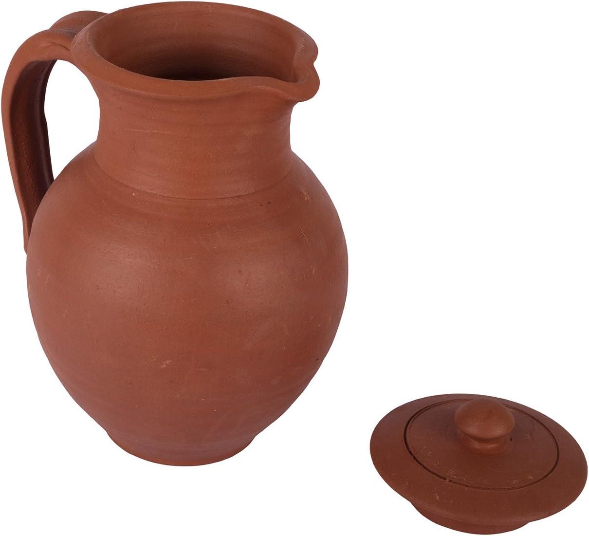 Jarra de agua de arcilla hecha a mano con tapa jarra Village Decor mesa de almacenamiento de cocina ecol/ógica