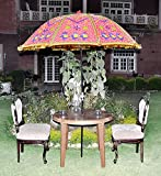 Fringed Heavy Embroidery Garden Umbrella 52 X 72 Inches