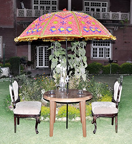 Fringed Heavy Embroidery Garden Umbrella 52 X 72 Inches by Lalhaveli