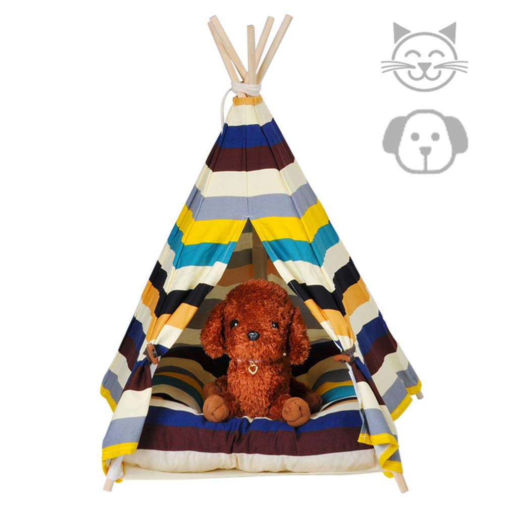 DEWEL Dog Tent Pet Teepee Dog & Cat Bed Toy House Portable Washable Pet Bed Colorful Stripe Pet Tent(Without Cushion) – Small
