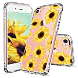 iPhone 7 Case, iPhone 8 Case, iPhone 7 Case for Women, MOSNOVO Floral Flower Sunflower Clear Design Plastic Hard Back Case with TPU Bumper Protective Case Cover for iPhone 7 (2016) / iPhone 8 (2017)
