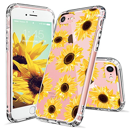 Sunflower Protective Case (iPhone 7 Case, iPhone 8 Case, iPhone 7 Case for Women, MOSNOVO Floral Flower Sunflower Clear Design Plastic Hard Back Case with TPU Bumper Protective Case Cover for iPhone 7 (2016) / iPhone 8 (2017))