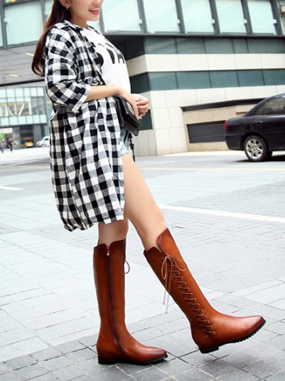 OCHENTA Femme Boots Plats Hauteur de Tige 42 CM Talon Intérieur 3.5 CM Tour de Tige 36CM Bottes Noir Taille Asiatique 42 XEXfsP